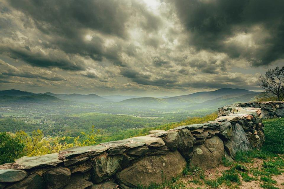 Dramatic skies and storm clouds at a scenic overlook at the foot of Shenandoah National Park, Virginia.