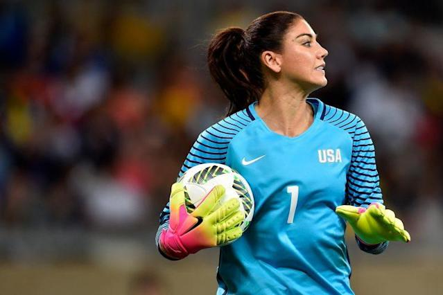Hope Solo of United States looks on during the first round match between the United States and New Zealand during the Rio 2016 Olympic Games. (Getty Images)