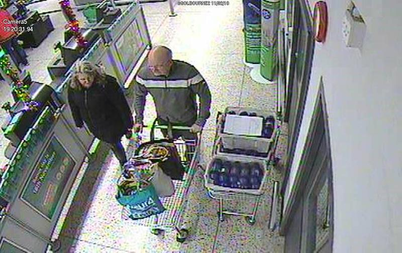 CCTV footage of David Pomphret and his wife Ann Marie shopping in Asda (Picture: PA)