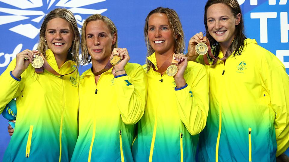 Shayna Jack, Bronte Campbell, Emma Mckeon and Cate Campbell, pictured here after winning gold at the 2018 Commonwealth Games.