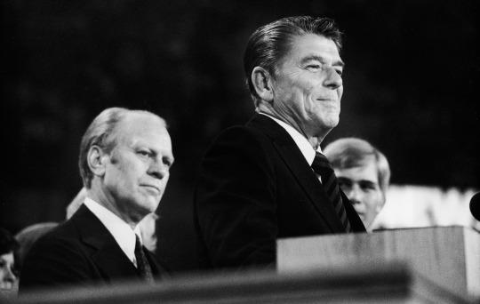 President Gerald Ford listens as Ronald Reagan addresses the Republican National Convention in 1976. (Photo: Pictorial Parade/Getty Images)