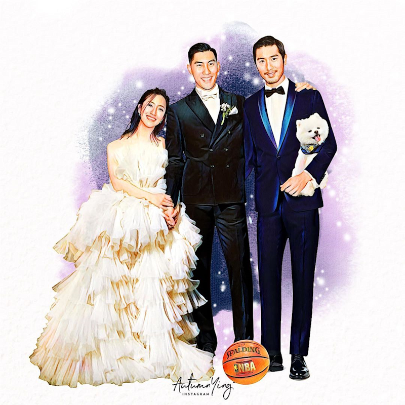 The picture drawn by Lin Xinying of Godfrey Gao with James Mao (centre) and Tiffany Lo. — Picture via Instagram/ autumn.ying
