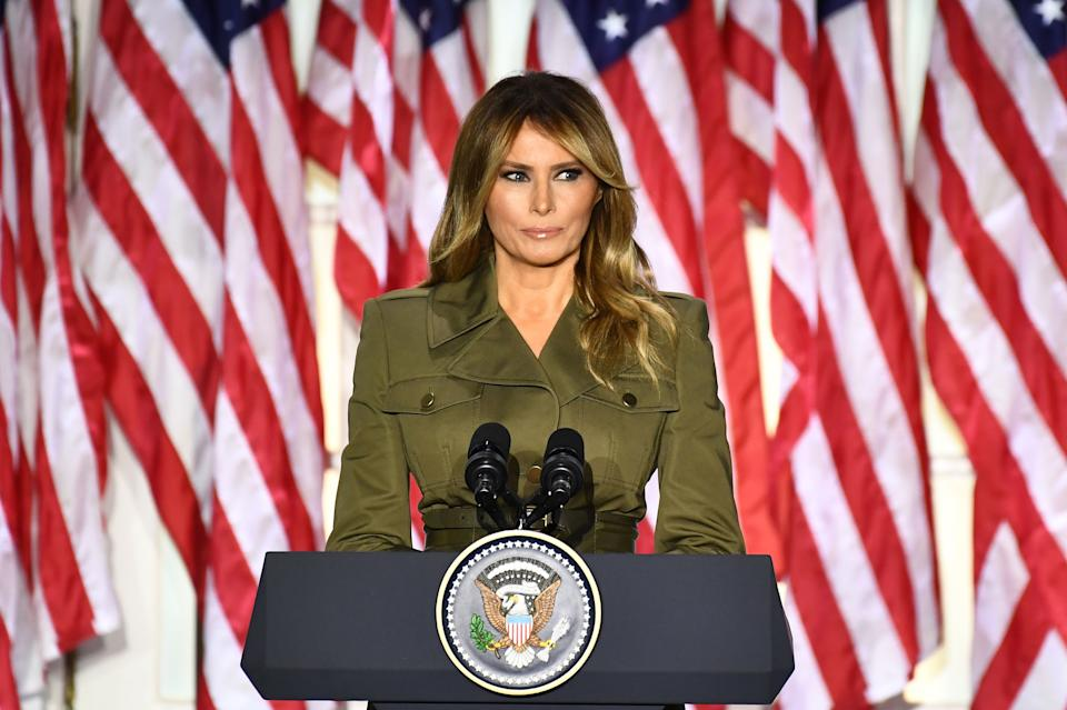 Melania Trump addresses the Republican Convention during its second day from the Rose Garden of the White House August 25, 2020, in Washington, DC.
