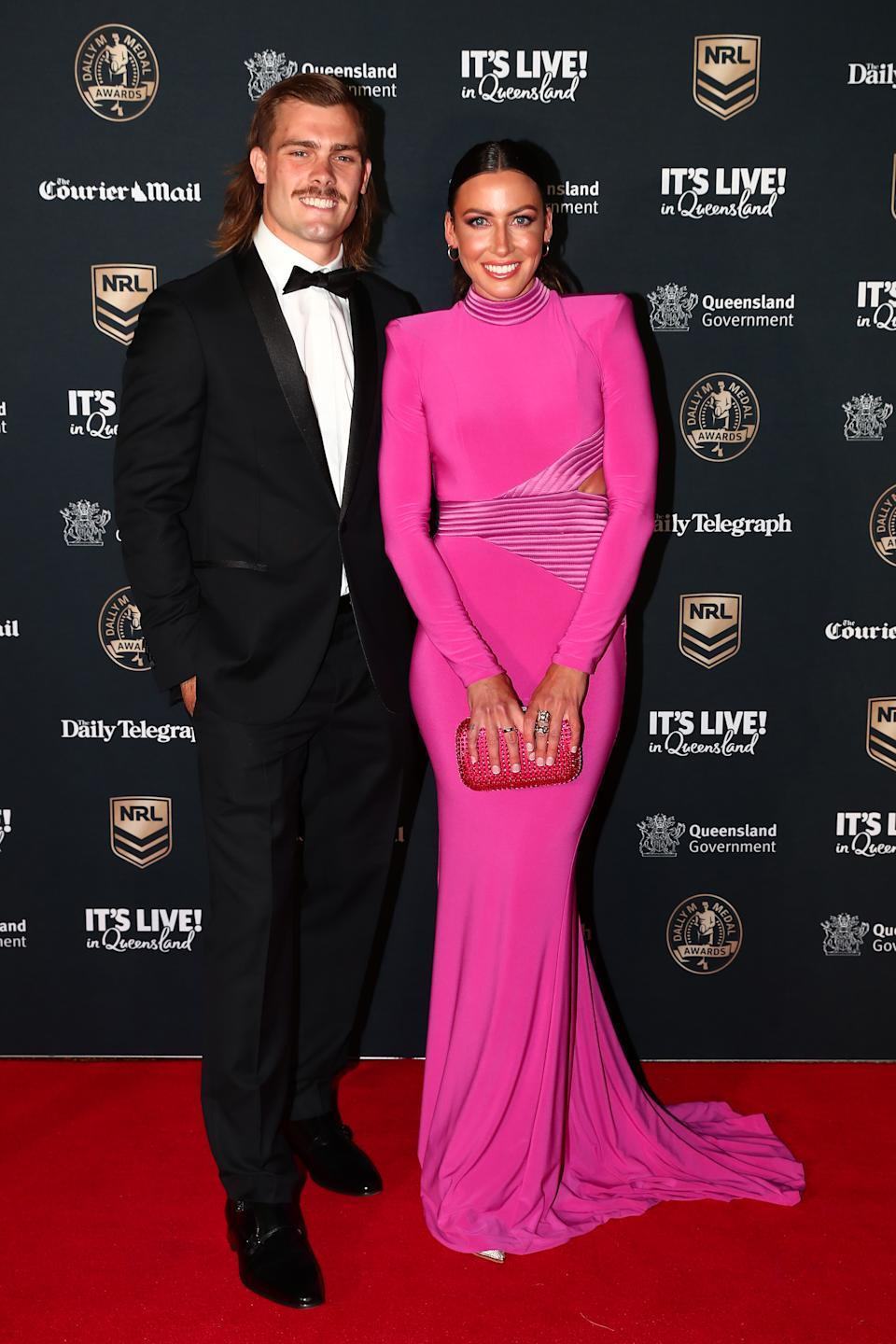 Dally M red carpet Ryan Papenhuyzen of the Storm and his partner Kelsey Browne