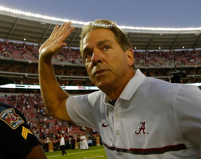 Do you think Nick Saban was so focused on Saturday's Mississippi State game he didn't know what Tuesday was? (Getty)