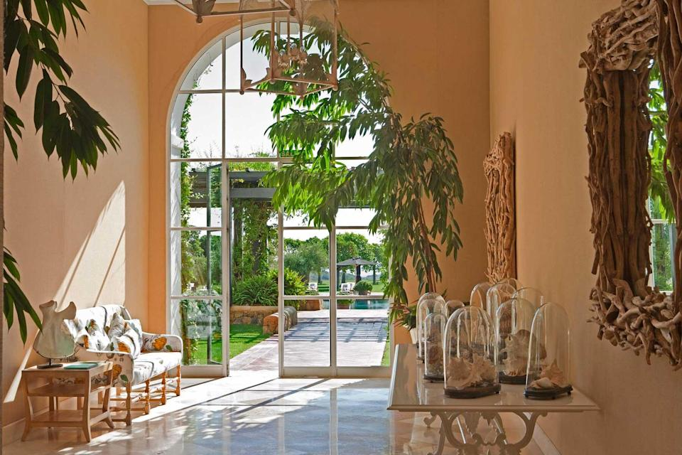 A sunlit common space at Finca Cortesin, voted one of the best hotels in the world