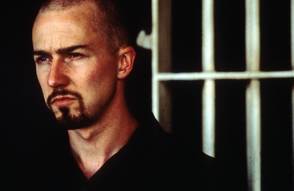Edward Norton in a scene from the film 'American History X', 1998. (Photo by New Line Cinema/Getty Images)