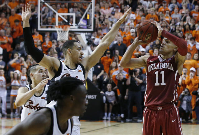 Trae Young (11) and the Sooners have struggled down the stretch this season and face an Oklahoma State team that has impressive wins in the first round of the Big 12 tournament. (AP)