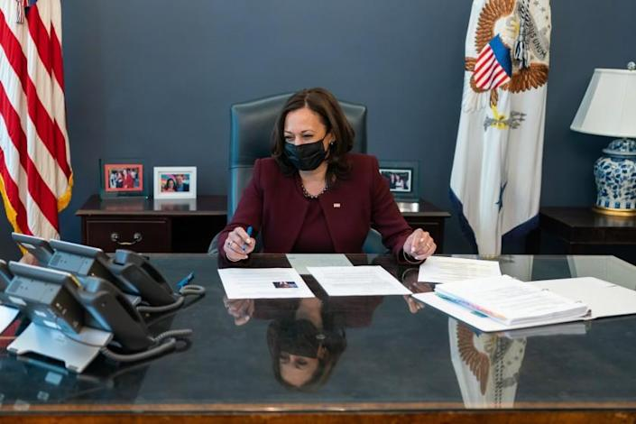 V20210121LJ-0496: Vice President Kamala Harris talks on the phone with Director General of the World Health Organization Tedros Adhanom Thursday, Jan. 21, 2021, in her West Wing Office of the White House. Vice President Harris and Mr. Tedros discussed the decision by the United States to reverse its withdrawal from the World Health Organization. (Official White House Photo by Lawrence Jackson)