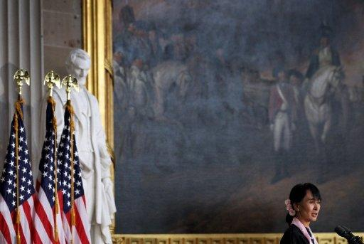 Aung San Suu Kyi has been hailed as a hero of democracy by the US Congress