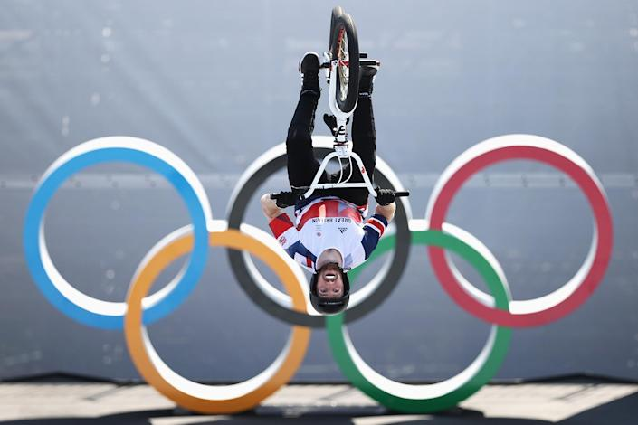 <p>Declan Brooks of Great Britain takes a spin during a training session for the cycling BMX freestyle at Ariake Urban Sports Park on July 28.</p>