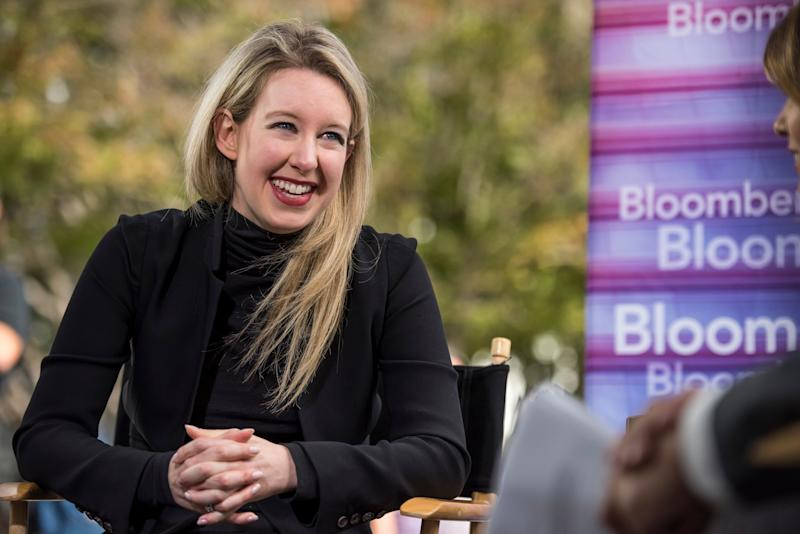 Billionaire Elizabeth Holmes, founder and chief executive officer of Theranos Inc., reacts during a Bloomberg Television interview at the Vanity Fair 2015 New Establishment Summit in San Francisco, California, U.S., on Tuesday, Oct. 6, 2015. The summit assembles titans of technology, politics, business, and media for inventive programming and inspiring conversations around the ideas and innovations shaping the future. Photographer: David Paul Morris/Bloomberg via Getty Images