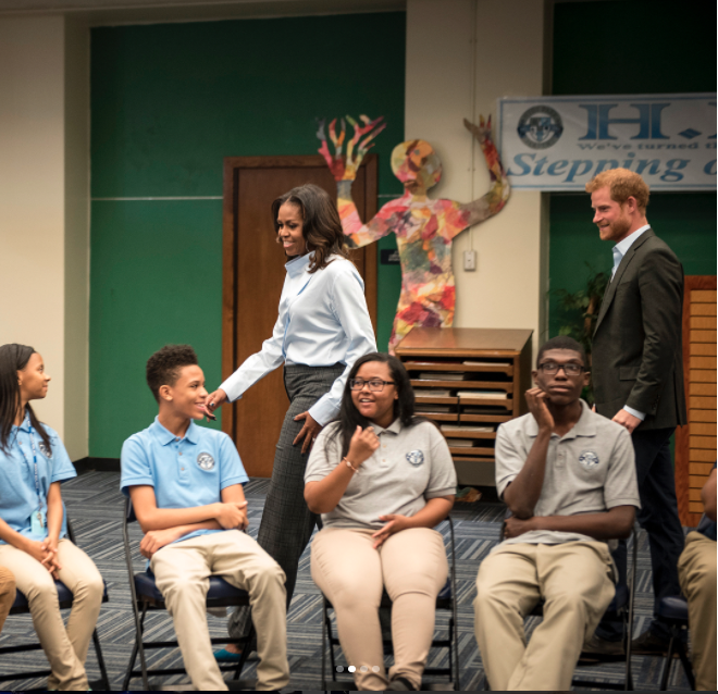They spent about an hour speaking with 20 students from the school. Photo: Instagram/Christopher Dilts/The Obama Foundation