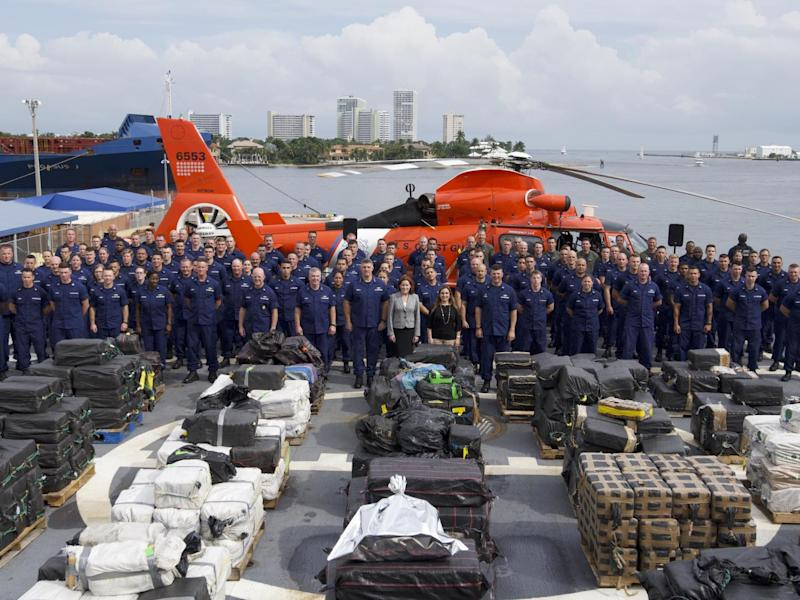 Coast guard officials show off interdicted cocaine: US Coast Guard / PO Jonathan Lally