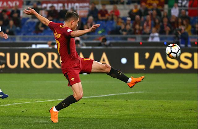 Soccer Football - Serie A - AS Roma vs Genoa - Stadio Olimpico, Rome, Italy - April 18, 2018 Roma's Cengiz Under scores their first goal REUTERS/Alessandro Bianchi