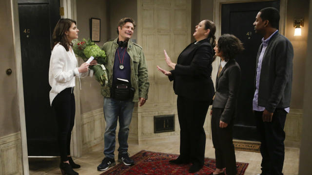 The cast of <em>Living Biblically</em>: Lindsey Kraft as Lesley, Jay R. Ferguson as Chip, Camryn Manheim as Ms. Meadows, Sara Gilbert as Cheryl, and Tony Rock as Vince. (Photo: Sonja Flemming/CBS)