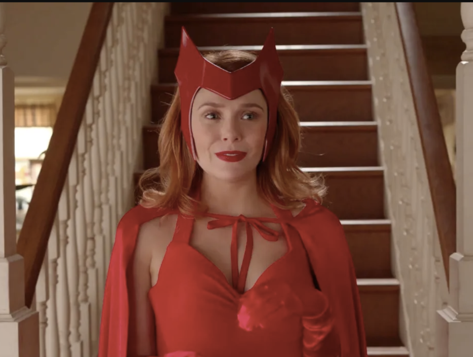 """<p>Were you hooked on <em>WandaVision</em> this year? The Halloween episode offers a perfect opportunity for your own Wanda Maximoff costume<em>. </em>It's also a tribute to the original Scarlet Witch character in the comics.</p><p><a class=""""link rapid-noclick-resp"""" href=""""https://www.amazon.com/Scarlet-Headwear-Maximoff-Halloween-Accessory/dp/B096JB2RXF/?tag=syn-yahoo-20&ascsubtag=%5Bartid%7C2164.g.37050429%5Bsrc%7Cyahoo-us"""" rel=""""nofollow noopener"""" target=""""_blank"""" data-ylk=""""slk:SHOP SCARLET WITCH CROWN"""">SHOP SCARLET WITCH CROWN</a></p><p><a class=""""link rapid-noclick-resp"""" href=""""https://www.amazon.com/YMDUCH-Sleeveless-Adjustable-Leotard-Bodysuit/dp/B08SQ9TG6T/?tag=syn-yahoo-20&ascsubtag=%5Bartid%7C2164.g.37050429%5Bsrc%7Cyahoo-us"""" rel=""""nofollow noopener"""" target=""""_blank"""" data-ylk=""""slk:SHOP RED LEOTARDS"""">SHOP RED LEOTARDS</a></p><p><a class=""""link rapid-noclick-resp"""" href=""""https://www.amazon.com/Making-Believe-Adult-Knit-Superhero/dp/B010R3RBL0/?tag=syn-yahoo-20&ascsubtag=%5Bartid%7C2164.g.37050429%5Bsrc%7Cyahoo-us"""" rel=""""nofollow noopener"""" target=""""_blank"""" data-ylk=""""slk:SHOP RED CAPES"""">SHOP RED CAPES</a></p><p><a class=""""link rapid-noclick-resp"""" href=""""https://www.amazon.com/Xuhan-Short-Banquet-Gloves-Length/dp/B07B531VLQ/?tag=syn-yahoo-20&ascsubtag=%5Bartid%7C2164.g.37050429%5Bsrc%7Cyahoo-us"""" rel=""""nofollow noopener"""" target=""""_blank"""" data-ylk=""""slk:SHOP RED GLOVES"""">SHOP RED GLOVES</a></p>"""