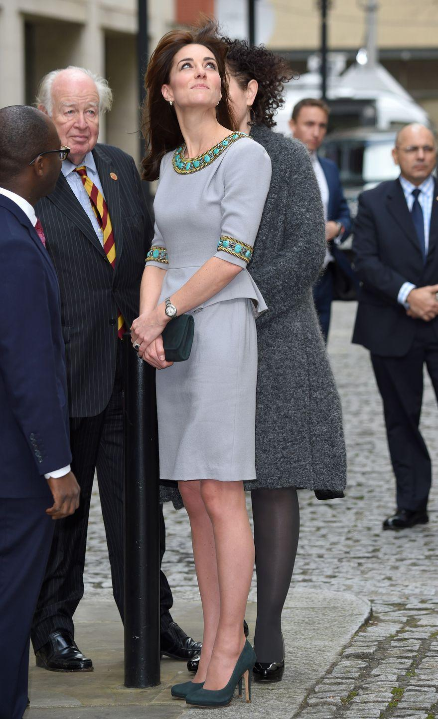 <p>It was a windy day when she wore it a second time to the Place2Be Headteacher Conference in London. </p>