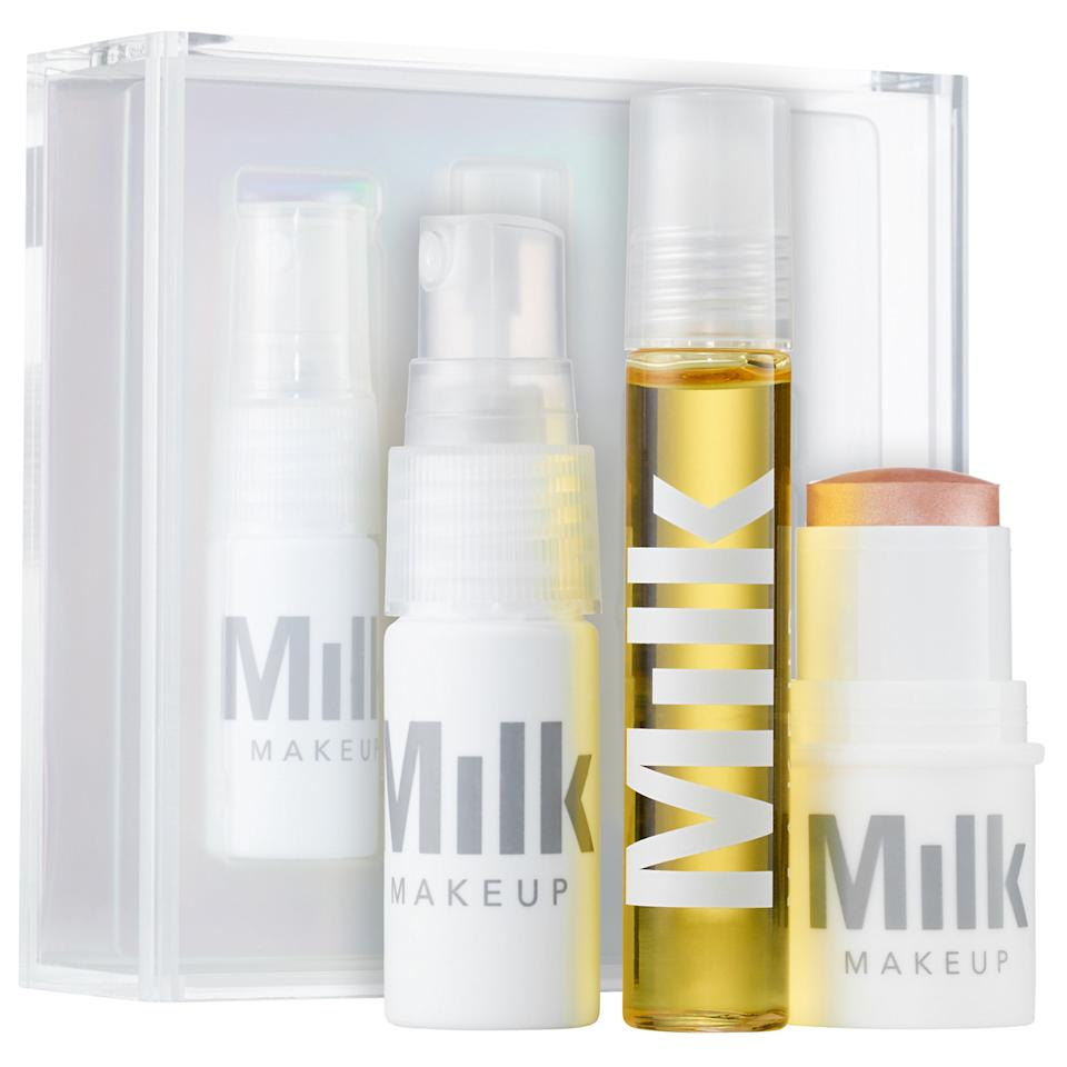 "<p>If something cool is going down in the fashion world, it happens at Milk Studios in New York, so you best believe the same rings true of the creative space's jump into the beauty world with its makeup and skincare line. This kit is equipped with everything one could possibly need to achieve the fresh-faced look of the models seen at Milk's fashion week shows.</p> <p>$30 | <a rel=""nofollow"" href='http://click.linksynergy.com/fs-bin/click?id=93xLBvPhAeE&subid=0&offerid=429865.1&type=10&tmpid=719&RD_PARM1=http%253A%252F%252Fwww.sephora.com%252Flimited-edition-triple-threat-glow-set-P412332%253FskuId%253D1859586%2526icid2%253Dproducts%252520grid%253Ap412332&u1=ISELbeautyobsessedgifts'>SHOP IT</a></p>"