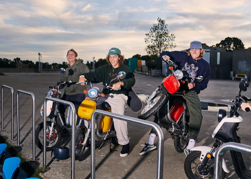 Austin Leleu (center) and friends with their mopeds
