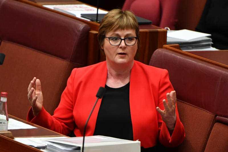 Minister for Defence Linda Reynolds during Question Time in the Senate chamber at Parliament House in Canberra.
