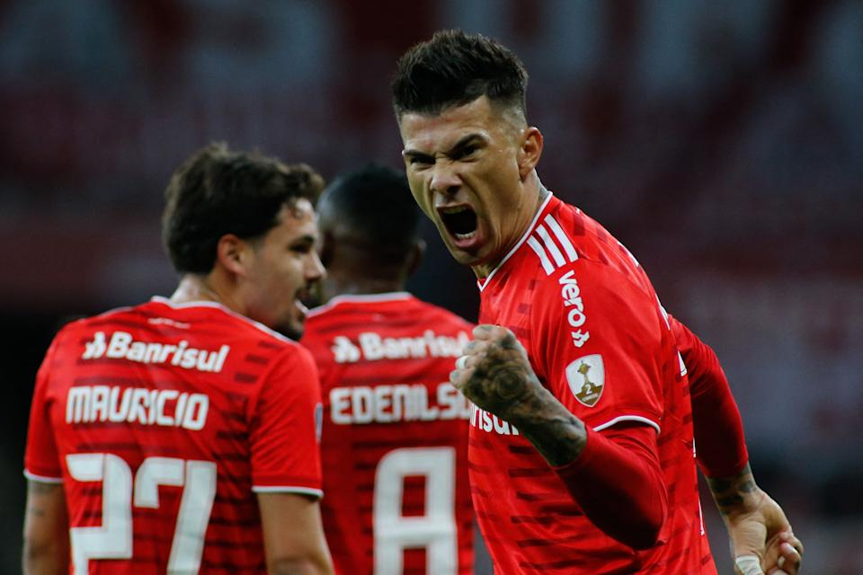 Brazil's Internacional Argentine Victor Cuesta celebrates after scoring during the Copa Libertadores football tournament group stage match between Brazil's Internacional and Venezuela's Deportivo Tachira at the Beira-Rio Stadium in Porto Alegre, Brazil, on April 27, 2021. (Photo by SILVIO AVILA / various sources / AFP) (Photo by SILVIO AVILA/AFP via Getty Images)
