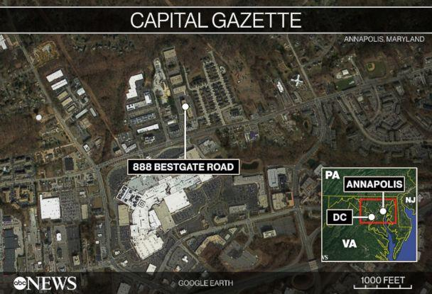 PHOTO: Map locating Annapolis, Maryland and the building where a shooting occurred on June 28, 2018. (ABC News)