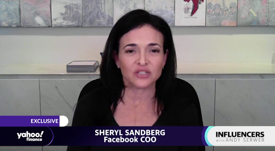 """Facebook COO Sheryl Sandberg appears on """"Influencers with Andy Serwer."""""""