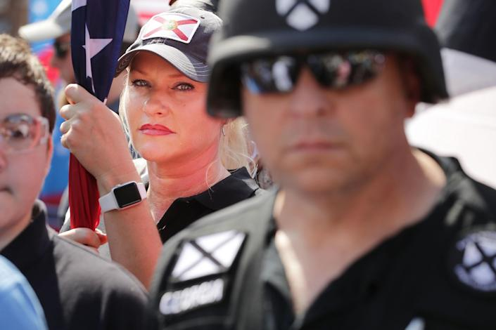 <p>Hundreds of white nationalists, neo-Nazis and members of the 'alt-right' march down East Market Street toward Lee Park during the 'Unite the Right' rally August 12, 2017 in Charlottesville, Virginia. After clashes with anti-fascist protesters and police the rally was declared an unlawful gathering and people were forced out of Lee Park, where a statue of Confederate General Robert E. Lee is slated to be removed. (Photo: Chip Somodevilla/Getty Images) </p>