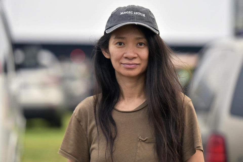 """Chloe Zhao attends the Telluride from Los Angeles drive-in screening of """"Nomadland"""" on Friday, Sept. 11, 2020, at the Rose Bowl in Pasadena, Calif. (Richard Shotwell/Invision/AP)"""