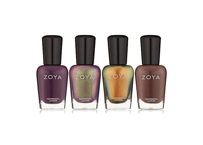 """<p><strong>ZOYA</strong></p><p>amazon.com</p><p><strong>$15.00</strong></p><p><a href=""""https://www.amazon.com/dp/B076C22JSR?tag=syn-yahoo-20&ascsubtag=%5Bartid%7C2141.g.37678990%5Bsrc%7Cyahoo-us"""" rel=""""nofollow noopener"""" target=""""_blank"""" data-ylk=""""slk:SHOP NOW"""" class=""""link rapid-noclick-resp"""">SHOP NOW</a></p><p>With a 4.6-star rating, this holiday nail polish quad will keep their nails party-ready all season long. The set includes deep purple, brown, and two metallic purple and gold shades. The formulas are also vegan-friendly and long-lasting.</p>"""