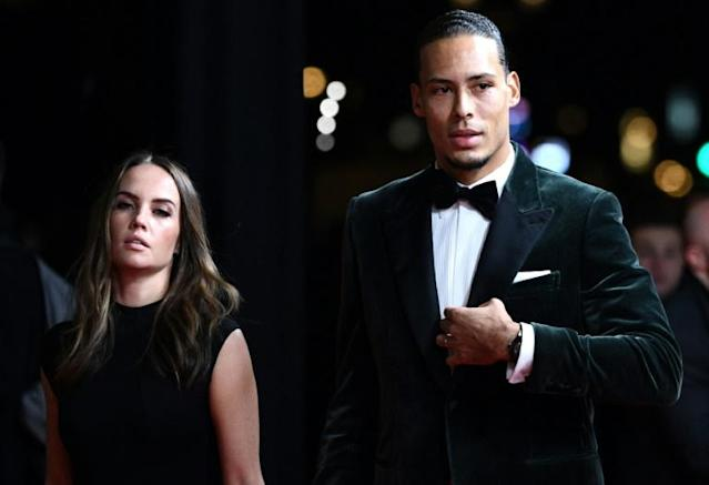 Virgil van Dijk who as accompanied by his wife Rike Nooitgedagt at the Ballon d'Or ceremony in Paris on Monday, finished second to Lionel Messi (AFP Photo/FRANCK FIFE)