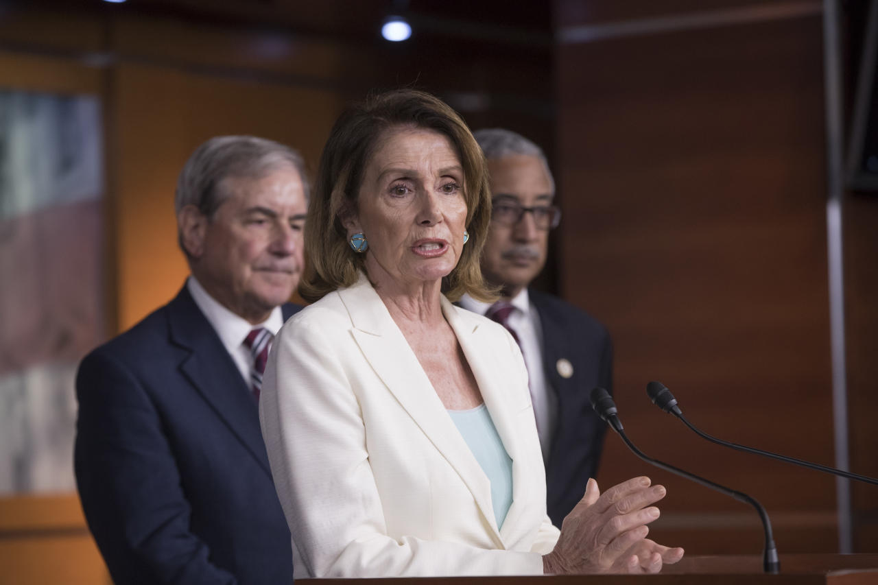 """House Minority Leader Nancy Pelosi, D-Calif., is joined by, from left, Rep. John Yarmuth, D-Ky., the ranking member of the House Budget Committee, and Rep. Bobby Scott, D-Va., the ranking member on the House Committee on Education and the Workforce, as she discusses the Republican efforts to replace """"Obamacare,"""" during a news conference on Capitol Hill in Washington, Thursday, July 20, 2017. Pelosi said she has spoken with House Majority Whip Steve Scalise, who was critically wounded in a shooting at a baseball practice a month ago, and """"he sounded wonderful."""" She also commented on the news of Sen. John McCain being diagnosed with an aggressive form of brain cancer. (AP Photo/J. Scott Applewhite)"""