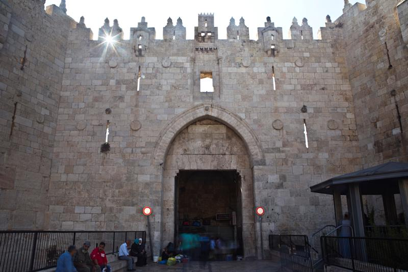People are seen near Damascus Gate in Jerusalem's Old City. (Photo: Nir Elias/Reuters)