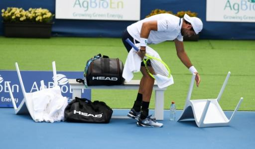 Matteo Berrettini of Italy was one of the players who had to contend with strong winds on Wednesday