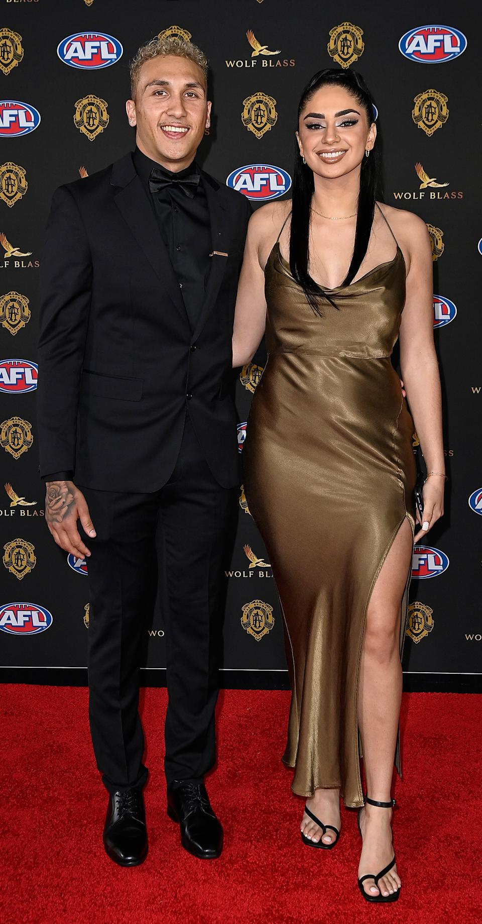 Shai Bolton and Hasina Baluch at the Brownlow Medal 2021