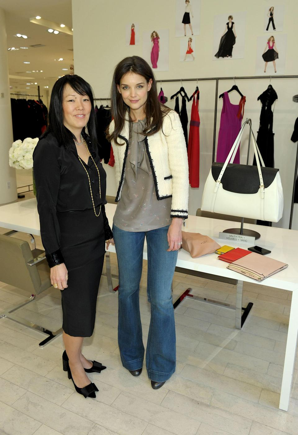 In 2009, Katie Holmes launched a clothing line with her then-stylist Jeanne Yang, titled Holmes & Yang. It landed in Barney's New York, and was considered to be a contemporary-luxury collection that included sleek separates and elegant work dresses. It shuttered in 2014.