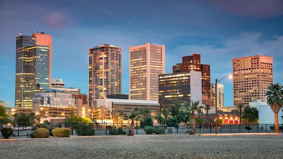Cityscape skyline view of office buildings and apartment condominiums in downtown Phoenix Arizona USA.