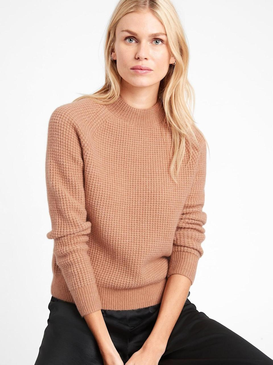 <p>You can't go wrong with the versatile camel shade of this <span>Banana Republic Aire Waffle-Knit Sweater</span> ($78, originally $99).</p>