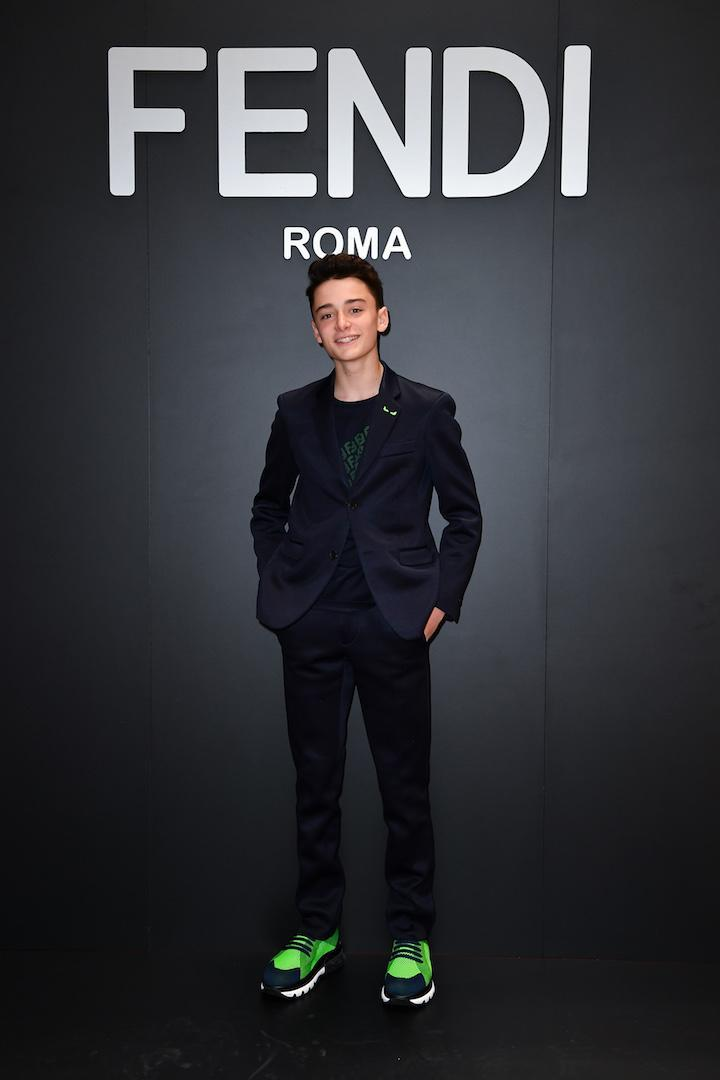 'Stranger Things' star Noah Schnapp, 14, took to the front row at Fendi yesterday [Photo: Getty]