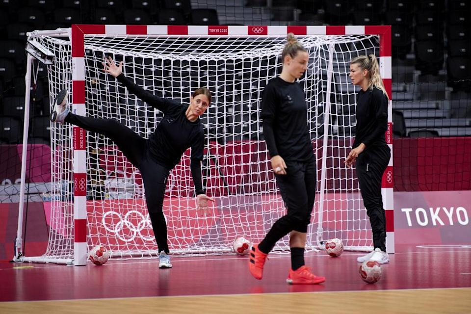 Players from the Dutch women's handball squad in practice.