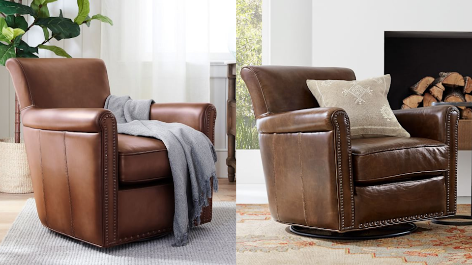 The bronzed nailhead design adds a classic feel to this sturdy armchair.