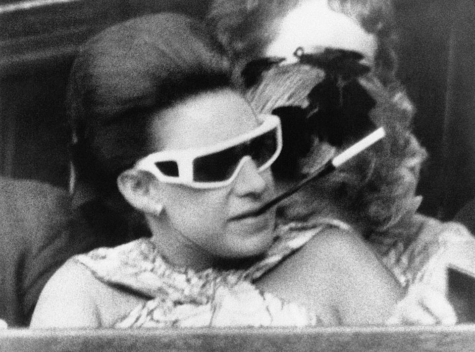 <p>The Princess kept things cool with a pair of futuristic sunglasses. </p>