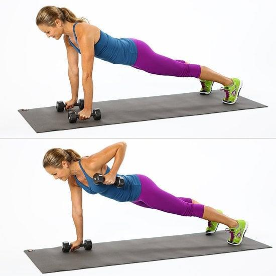"""<ul> <li>Begin in a <a href=""""http://www.popsugar.com/fitness/photo-gallery/46197096/image/46197257/High-Plank"""" class=""""ga-track"""" data-ga-category=""""internal click"""" data-ga-label=""""http://www.popsugar.com/fitness/photo-gallery/46197096/image/46197257/High-Plank"""" data-ga-action=""""body text link"""">high plank</a> position with hands on 5 lb. weights, shoulders over wrists, feet hip width apart. </li> <li>Row one arm back, keeping the elbow in by your side, pulling the weight toward your hip and engaging the middle of your back. Try to keep your hips and shoulders square and avoid twisting. </li> <li>Repeat 12 to 16 times on each side for one circuit. Complete the circuit twice.</li> <li><strong>Modification:</strong> You can do this exercise on your knees in a <a href=""""http://www.popsugar.com/fitness/photo-gallery/43638335/image/43638570/Modified-Plank-Knees"""" class=""""ga-track"""" data-ga-category=""""internal click"""" data-ga-label=""""http://www.popsugar.com/fitness/photo-gallery/43638335/image/43638570/Modified-Plank-Knees"""" data-ga-action=""""body text link"""">modified plank position</a>.</li> </ul>"""