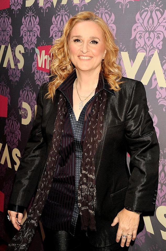 """Crow's good friend Melissa Etheridge was diagnosed in 2004 at the age of 42. The rocker wowed the crowd at the 2005 Grammy Awards when, after chemotherapy, she stepped on stage and proudly showed off her bald head. Jeff Kravitz/<a href=""""http://filmmagic.com/"""" target=""""new"""">FilmMagic.com</a> - September 17, 2009"""