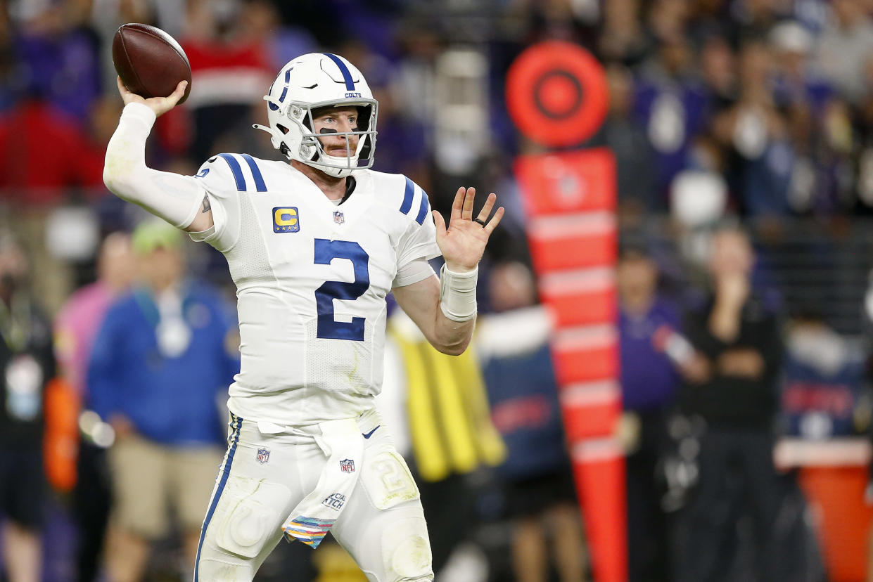 BALTIMORE, MD - OCTOBER 11: Indianapolis Colts Quarterback Carson Wentz (2) in action during and NFL game between the Indianapolis Colts and Baltimore Ravens on October 11, 2021at M&T Stadium in Baltimore Maryland.(Photo by Jeffrey Brown/Icon Sportswire via Getty Images)