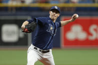 Tampa Bay Rays starting pitcher Ryan Yarbrough works from the mound against the Detroit Tigers during the first inning of a baseball game Saturday, Sept. 18, 2021, in St. Petersburg, Fla. (AP Photo/Scott Audette)