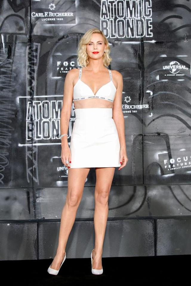 "<p>Theron <a href=""https://www.yahoo.com/lifestyle/charlize-theron-wears-bra-top-atomic-blonde-premiere-205359003.html"" data-ylk=""slk:got mixed reactions;outcm:mb_qualified_link;_E:mb_qualified_link"" class=""link rapid-noclick-resp newsroom-embed-article"">got mixed reactions</a> when she wore this Christian Dior bra as a top to her <em>Atomic Blonde</em> premiere in Berlin, Germany. (Photo: Getty Images) </p>"
