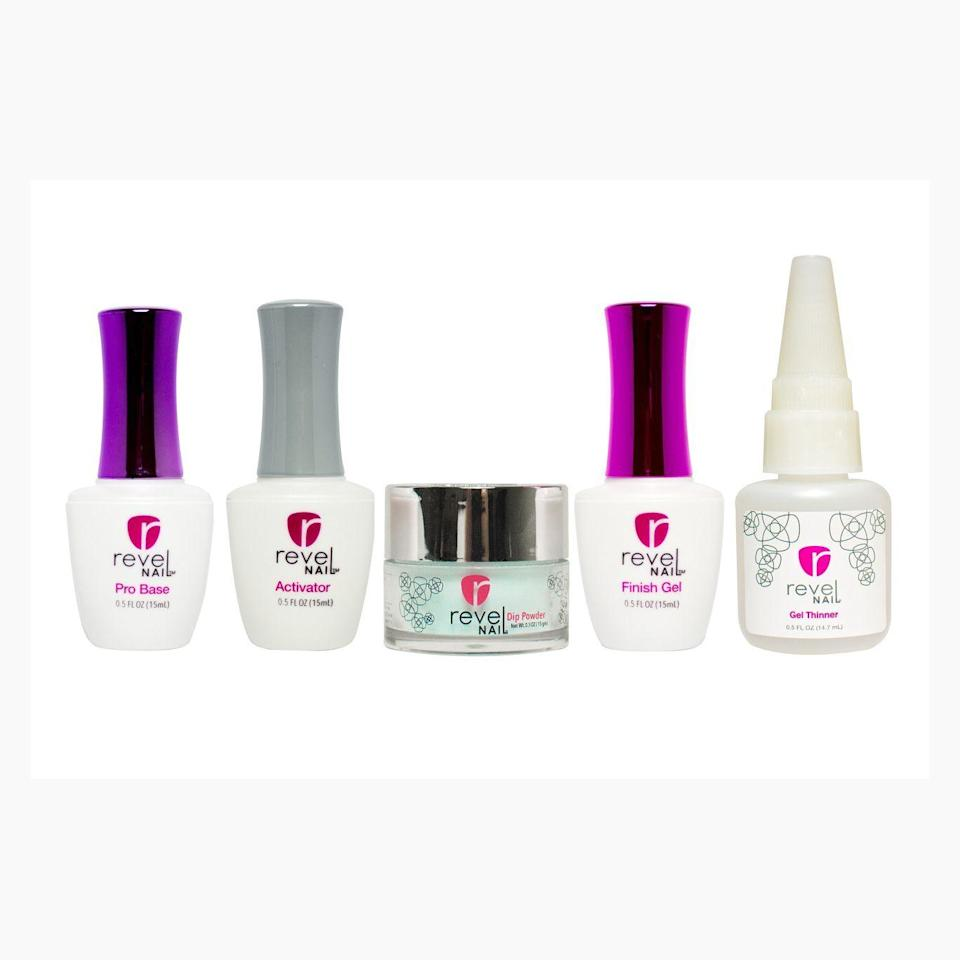 """<p><strong>Revel Nail</strong></p><p>revelnail.com</p><p><strong>$33.00</strong></p><p><a href=""""https://www.revelnail.com/dip-powder-starter-kit/"""" rel=""""nofollow noopener"""" target=""""_blank"""" data-ylk=""""slk:Shop Now"""" class=""""link rapid-noclick-resp"""">Shop Now</a></p><p>Revel Nail kits contain EZ liquids plus one jar of powder in the color of your choice. Their dip powder claims to deliver lightweight, natural results that can last up to three weeks longer. The brand boasts that their dip powder is <strong>non-toxic and odor-free.</strong></p>"""