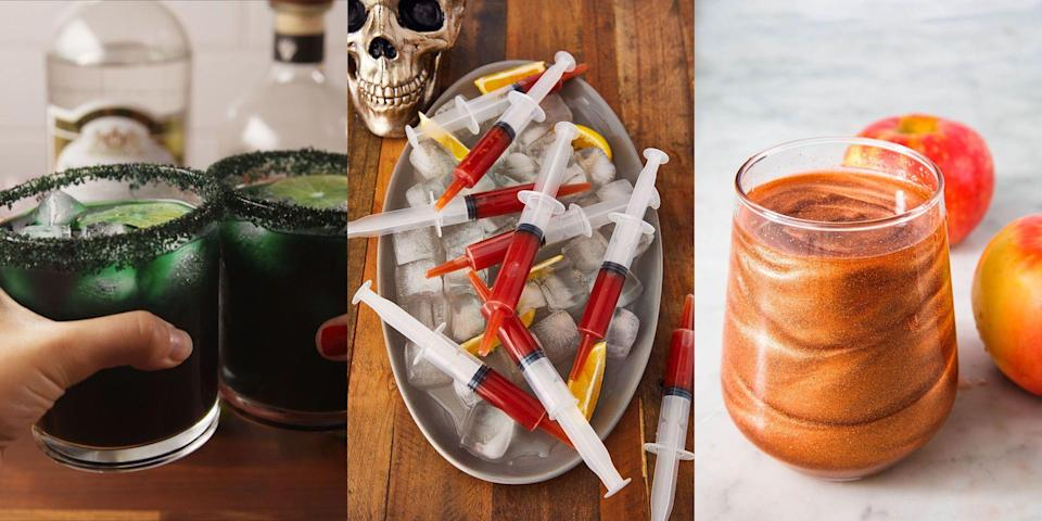 """<p>Sure, we love sweets at Halloween. But, we also love booze. Especially the kind that's been adapted just in time for Halloween celebrations. We're talking <a href=""""https://www.delish.com/uk/cooking/recipes/a29221562/bloody-mary-syringes-recipe/"""" rel=""""nofollow noopener"""" target=""""_blank"""" data-ylk=""""slk:Bloody Mary Syringes"""" class=""""link rapid-noclick-resp"""">Bloody Mary Syringes</a> (as cool as they sound), <a href=""""https://www.delish.com/uk/cocktails-drinks/a29649875/black-magic-margaritas-recipe/"""" rel=""""nofollow noopener"""" target=""""_blank"""" data-ylk=""""slk:Black Magic Margaritas"""" class=""""link rapid-noclick-resp"""">Black Magic Margaritas</a> and <a href=""""https://www.delish.com/uk/cocktails-drinks/a37513177/boozy-screamsicle-shakes-recipe/"""" rel=""""nofollow noopener"""" target=""""_blank"""" data-ylk=""""slk:Boozy Screamsicle Shakes"""" class=""""link rapid-noclick-resp"""">Boozy Screamsicle Shakes</a>. Sound good huh? For a range of super-simple Halloween cocktails, take a look at our top 10 best recipes now!</p>"""